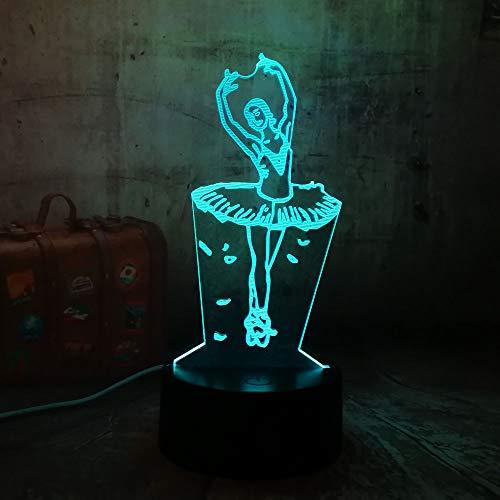 Jiushixw nachtlampje van acryl, 3D, met afstandsbediening, kleurverandering, lampen, ballerina's, romantisch, kerstcadeau, tafellamp met messing-effect