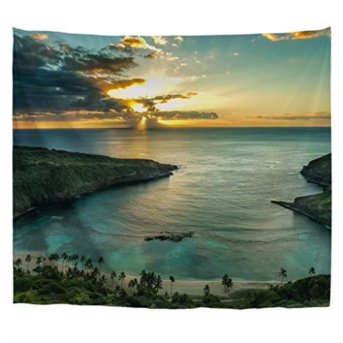 A.Monamour Tapices Salida del Sol sobre La Bahía De Hanauma En Oahu Hawai Luz del Sol A Través De Nubes Oscuras Naturaleza Paisaje Tela Colgar En La Pared Tapicería Mural Pared De Cortina 180x230cm