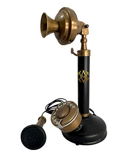 Rotary Dial Candlestick Desk Telephone Black Finish Antique Replica Retro Home Décor