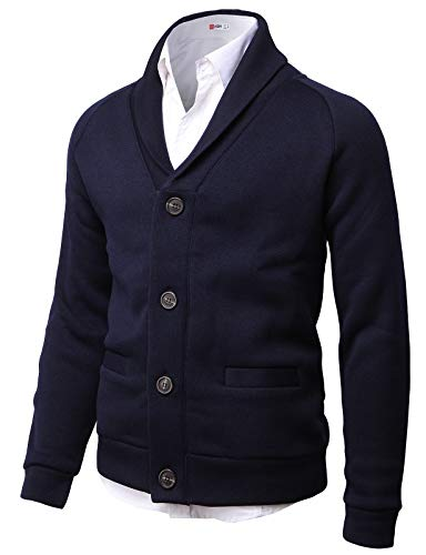 H2H Mens Knitted Fashion Long Sleeve Shawl Collar Button Front Cardigan Navy US S/Asia M (CMOCAL031)