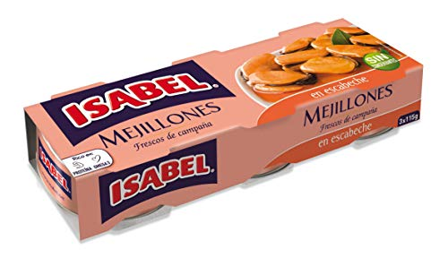 Isabel Mejillones en Salsa de Escabeche, Pack de 3 x 80g