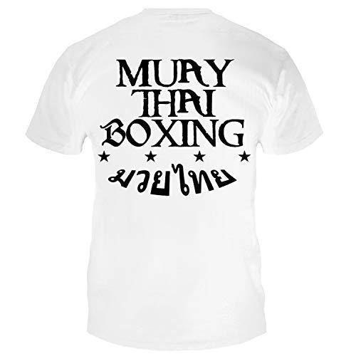 Dynamix Athletics T-Shirt Muay Thai Boxing Weiß - Thaiboxen Kampfsport Shirt für Herren (L)