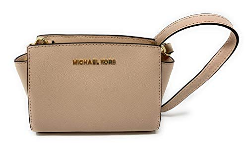"Saffiano Leather. Gold-tone hardware. Zip top closure. Adjustable shoulder strap with 18"" to 22"" drop Interior features 3 slip pocket 8.5"" top - 6.75"" bottom W x 5"" H x 3"" D"