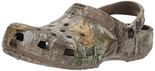 Crocs Men's and Women's Classic Realtree Clog | Camo Shoes, Walnut, 7 Women / 5 Men