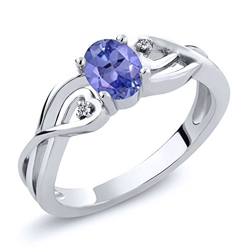 Gem Stone King 925 Sterling Silver Oval Blue Tanzanite and White Diamond Women Engagement Ring (0.46 Cttw, Gemstone Birthstone, Available in size 5, 6, 7, 8, 9)