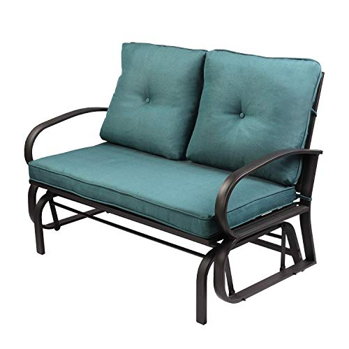 Aoxun Patio Loveseat Outdoor Patio Glider Rocking Bench,Porch Furniture Glider,Wrought Iron Chair Set with Cushion,Peacock Blue