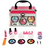 Lil Me Pretend Play Makeup Beauty Princess Girls Cosmetic Set with Mirror and Clear Sturdy Travel Case for Kids Girls, Non-Toxic, Washable