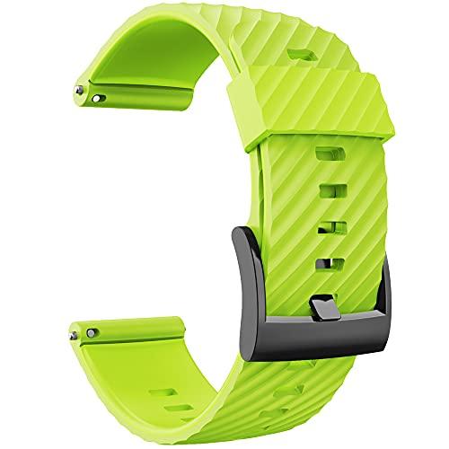 KINOEHOO Correas para relojes Compatible con Suunto 7/9/9 baro/D5/spartan sport Pulseras de repuesto.Correas para relojesde silicona.(verde)