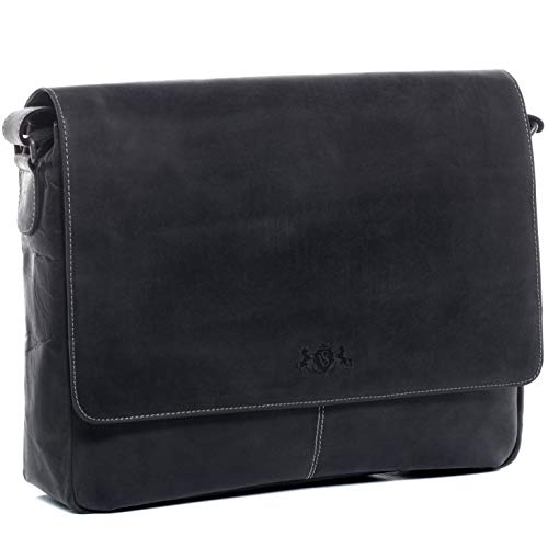 SID & VAIN® Bolsa Mensajero Spencer Bolso Notebook 15' Ordenador Bandolera Laptop Piel...
