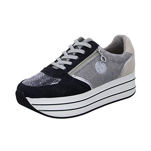 s.Oliver Donna Scarpe Stringate Basse 23621-23,Signora Sneaker,Lacci,Scarpe da Strada,Sportivo,Elegante,Casuale,Navy Comb,38 EU / 5 UK