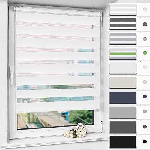 Magiea Doppelrollo Klemmfix Duo Rollo ohne Bohren, Weiß 70x170cm, Balkontür Rollo, Fensterrollo Schalosien für Fenster und Tür