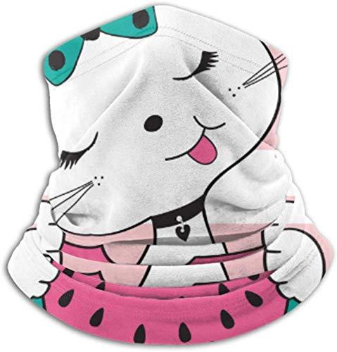 Teemoo Fleece-Nackenwärmer, multifunktionale süße Katze Essen Wassermelone Schal, eine Vollmaske oder Mütze, Nackenschutz, Nackenmütze, Skimaske, Halbmaske, Gesichtsmaske,