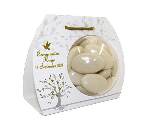lot de 4 Boîte à dragées ARBRE - BALLOTIN BOULE 6 CM personnalisé avec votre texte et votre photo pour mariage bapteme communion