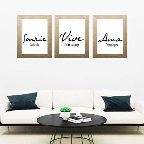 "Triptico de Cuadros decoración impresos, con MARCO HAYA NATURAL, con frase motivadora"" Sonríe, Vive, Ama"". Hecho en España (50 x 60 cm)"