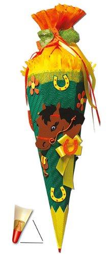 alles-meine.de GmbH BASTELSET Schultüte - Pferd 85 cm - mit Holzspitze - Zuckertüte Roth - ALLE Größen - 6 eckig Mädchen Pferde Fohlen Haustier Pferdefan Tiere