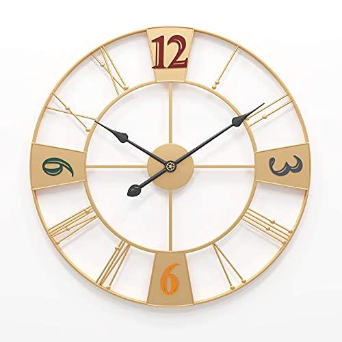 Reloj de Pared para jardín al Aire Libre, Gran Reloj Retro de jardín de 23 Pulgadas, Gigante de Cara Abierta Roma, Impermeable, Reloj para Exteriores, Hierro Forjado, Reloj para Exteriores,