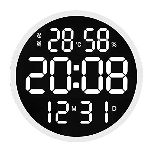 GGZZLL Moderno Reloj De Pared LED Simple, Reloj De Sala Redondo, Números Silenciosos, Reloj Electrónico De Temperatura Y Humedad De 12 Pulgadas, Pantalla En Chino E Inglés, Memoria De Apagado