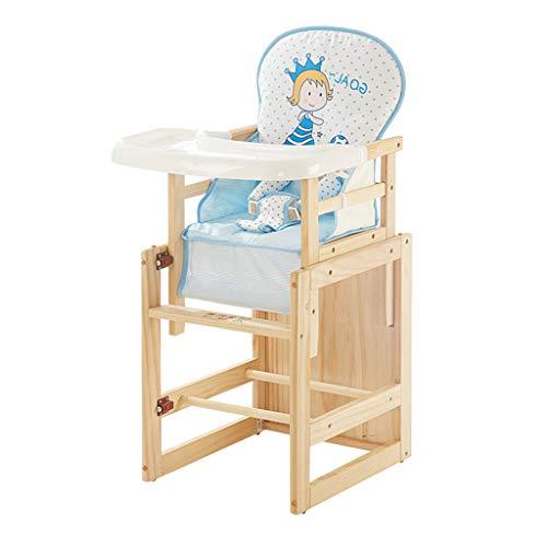 en Bois Multifonction Chaise Haute avec Ceinture et Coussin, Chaise bébé Ergonomique, Chaise de Salle à Manger pour Enfants avec Plateau de Protection de l'environnement