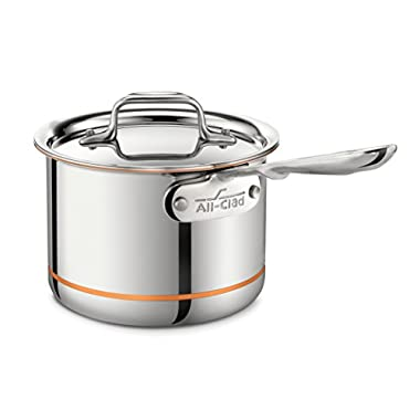All-Clad 6202 SS Copper Core 5-Ply Bonded Dishwasher Safe Saucepan/Cookware, 2-Quart, Silver