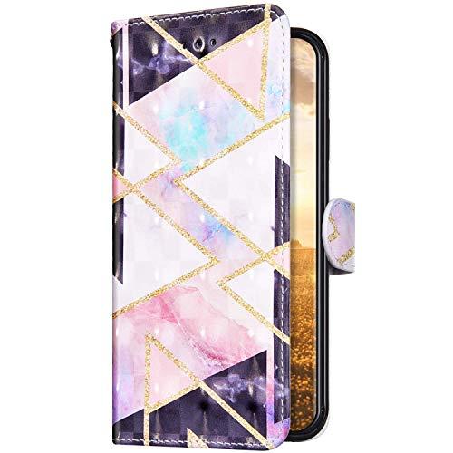 Uposao Kompatibel mit Samsung Galaxy A01 Hülle Leder Handyhülle Bunt Glänzend Bling Glitzer Klapphülle Flip Case Schutzhülle Brieftasche Wallet Ledertasche Kartenfächer Magnet,Marmor Rosa