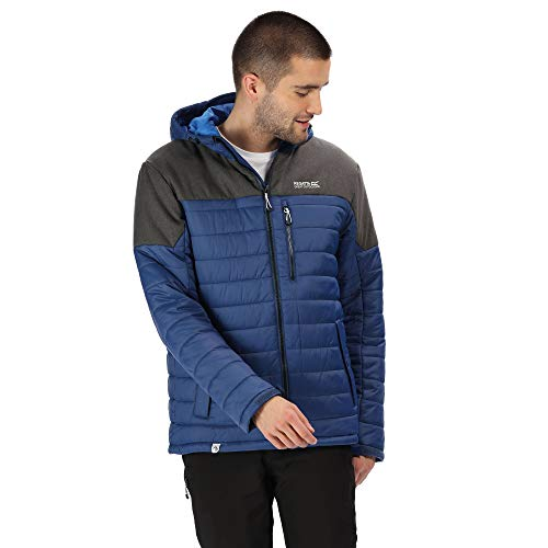 Regatta Orton Lightweight Water Repellent Wool Effect Down-Touch Insulated Hooded Jacket Chaquetas Acolchadas, Hombre, Prusiano/Imán, Extra-Large