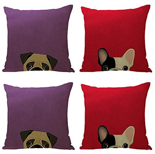KaiXINSun Throw Pillow Fundas Paquete de 4 Funda de Almohada de 18X18 Pulgadas Funda Decorativa para Sofá de Casa Cuadrada Cremallera Invisible 45X45Cm Perro Divertido con Fondo Fucsia