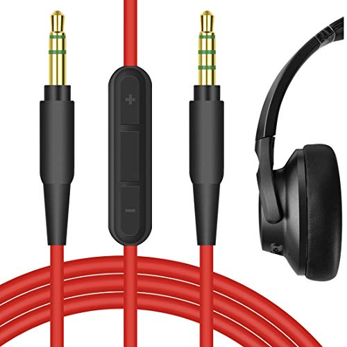 Geekria Audio Cable with Mic for Anker Soundcore Life Q10, Life Q20, Life 2 Active, Vortex, COWIN E7, E8 Headphones, 3.5mm Replacement Stereo Cord with Microphone and Volume Control (Red 5.6FT)