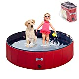 V-HANVER Dog Pool Pets Bathing Tub Plastic Wading Kiddie Pool for Medium and Large Dogs Kids - Portable Foldable Collapsible, 47 X 12 inch