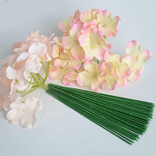 MOIAK 100pcs Plastic Floral Stem, Artificial Flower Rod, Plant Stub Wire Green Florist Wires, Ideal for The Crafts Person, 17CM and 25CM(17CM) Silk Flower Arrangements