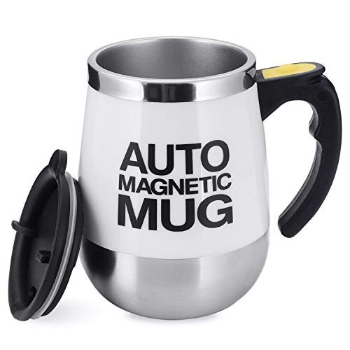 TsunNee Elektrischer, selbstrührender Kaffeebecher, Edelstahl, automatischer magnetischer Becher, automatischer Mixbecher für Kaffee, Tee, heiße Schokolade, Milch, Kakao, Protein, weiß