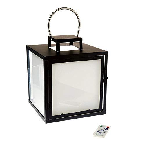 Grande lanterne métal sans fil LED blanc/multicolore dimmable HEAVY C23 H32cm avec télécommande et socle à induction