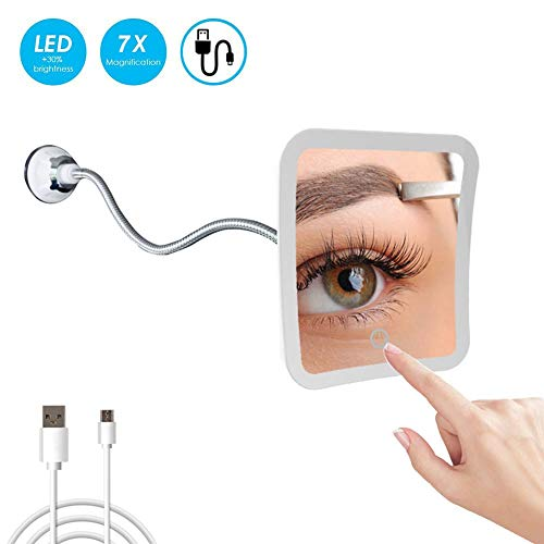 MRJ Kosmetikspiegel mit Schwanenhals, 20 cm, 7-fache Vergrößerung, LED-beleuchtet, mit starkem Saugnapf, 360 Grad drehbar, Tageslicht, batteriebetrieben/USB, kompakter Reisespiegel