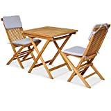 Garland Bristol Salon de jardin 3 pièces avec table et 2 chaises de balcon pliables en teck certifié SVLK
