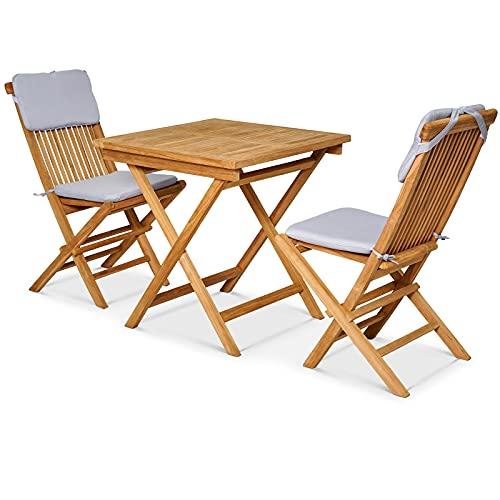 Garland Conjunto de jardín Bristol de Madera Teca Set de Muebles de balcón Plegable Cojines Lavables