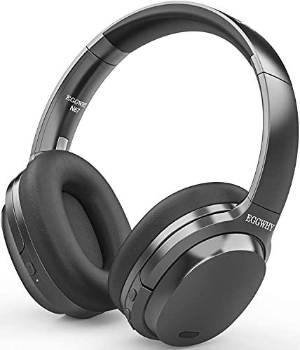 EGGWHY Active Noise Cancelling-Kopfhörer, kabellose Over-Ear-Bluetooth-Kopfhörer mit CVC 8.0-Mikrofon, 30-Stunden-Spielzeit, hochauflösendes Audio, Deep Bass, Memory Foam-Ohrmuscheln