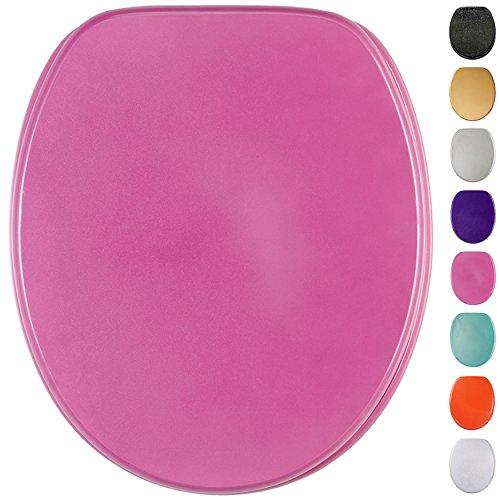 Glitzer WC Sitz mit Absenkautomatik, viele schöne Glitzer WC Sitze zur Auswahl, hochwertige und stabile Qualität aus Holz (Pink)