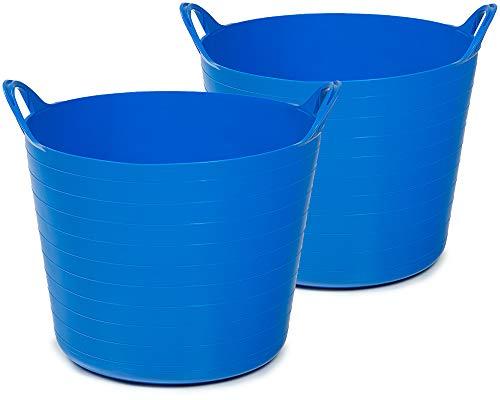 Ondis24 2X Tragekorb Flexi Tub 26L, Spielzeug Eimer Kinderzimmer, Wäschekorb Flexibler Kunststoff, Garten Kübel, blau