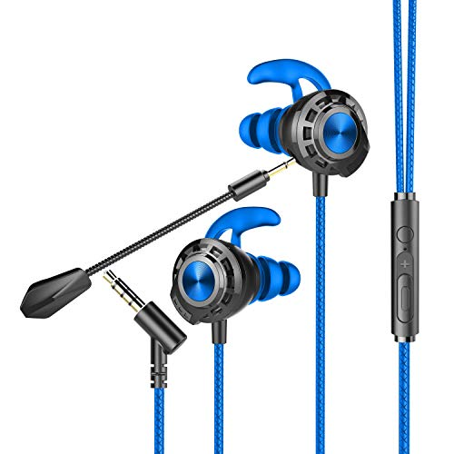 BENGOO G16 Gaming Earbuds with Microphone, Gaming Earphones Noise Cancellation Headphones with Dual Mic, Earbuds Wired for Computer iPhone PS4 Xbox One Nintendo Switch with Stereo Sound & 3.5MM Jack