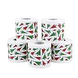 Ltjqsm 5 unids patrón de Navidad Serie Roll Roll Decoraciones de Navidad Impresiones Divertido Papel higiénico Decoraciones de Navidad para el hogar