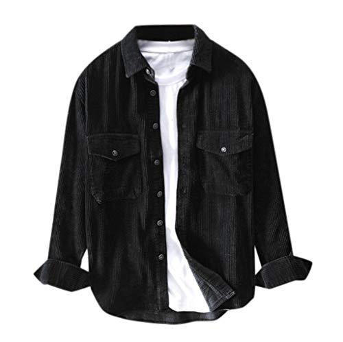 Kaiki Vintage Trucker Jacke Herren Langarm Sweatshirt Trenchcoat Sweatjacke Kapuzenjacke Tops Bluse Einfarbig Slim Fit Outwear mit Taste Runter (XL, Schwarz)
