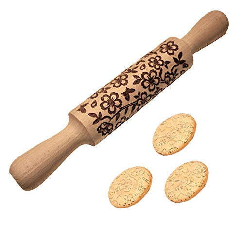 Embossed Rolling Pin Cherry Blossoms Multi-Purpose Engraving Eco-Friendly Naturally Made Baking Accessory Tool For Pastries & Arts ablazingbee