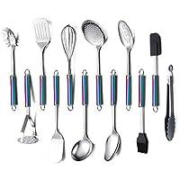 homquen set di utensili da cucina in acciaio inossidabile,12-utensili da cucina,gadget da cucina set di pentole,miglior regalo-set di utensili da cucina(manico colorato)
