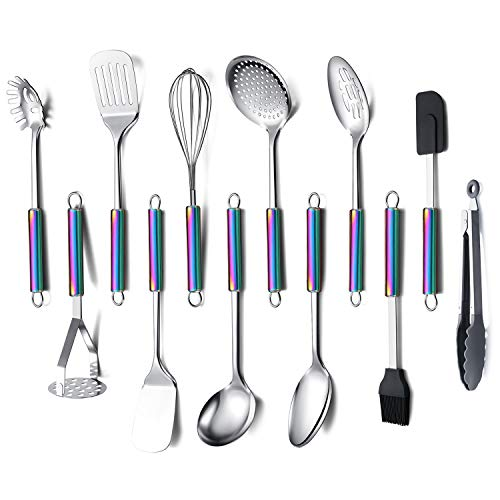 Amazon Brand Kitchen Utensils Set, 12 Pieces Cooking Utensils Set With Rainbow Handle, Rainbow Handle Kitchen Tools Set For Non-Stick Cookware, Kitchen Gadgets Pack of 12(Colorful)