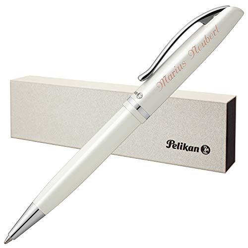 Pelikan Kugelschreiber JAZZ ELEGANCE Weiß Metallic mit Laser-Gravur