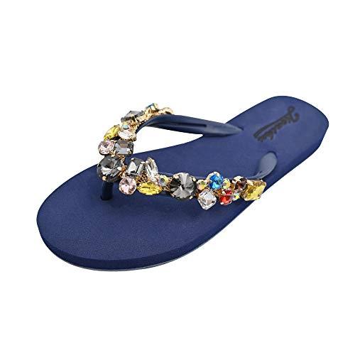 Toallas Zapatillas Mujer Verano Moda Rhinestone Playa Sandalias y Zapatillas Chanclas-Azul_37