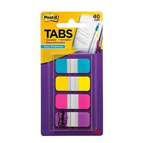 Post-it Tabs.625 in Solid, Aqua, Yellow, Pink, Violet, 10/Color, 40/Dispenser (676-AYPV), Bright Colors, 5/8 x 1-1/2 in