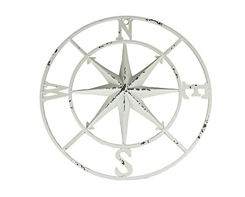 PD Home & Garden Distressed Metal Compass Rose Indoor/Outdoor Wall Hanging - White
