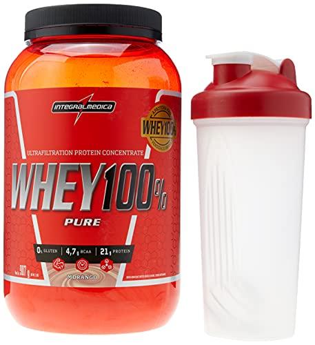 Whey 100% Pure 907g Morango + Coqueteleira