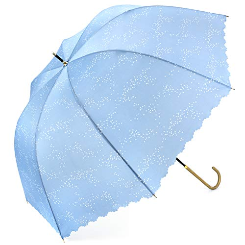 傘レディース 長傘 かわいい傘 Bibury 新強化グラスファイバー傘骨 梅雨対策 レディース用傘 撥水加工 (ライトブルー)