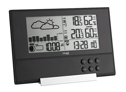 TFA Dostmann Pure Plus Draadloos weerstation, met extra vlak design, weersvoorspelling, binnenklimaat met comfortzones, buitentemperatuur, luchtdruk